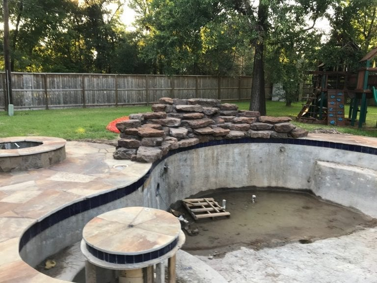under construction custom pool