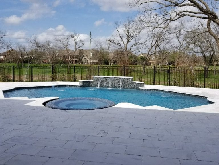 Completed Projects, Freeform pool with spa and rock ledge waterfall