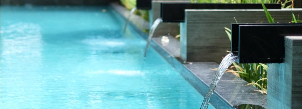 Modern Pool Waterfall Ideas Fountains Cascades More Escape Pools